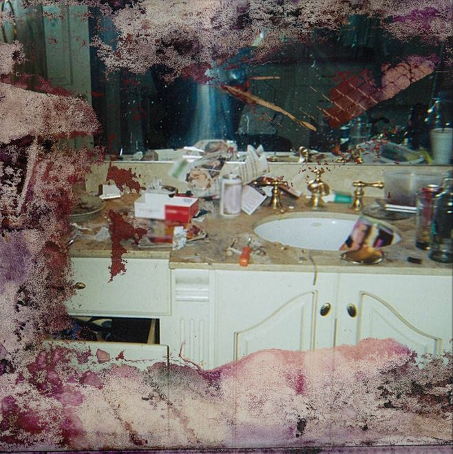 The controversial photo of Whitney Houston's bathroom which is now the album art for Pusha-T's Kanye-produced 'DAYTONA'. (Image Source: Instagram/@kingpush)