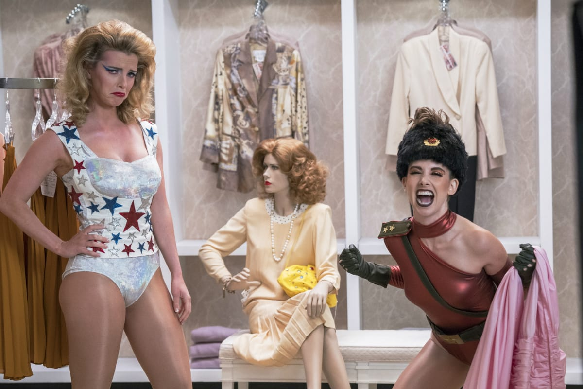 Betty Gilpin and Alison Brie as Liberty Belle and Zoya the Destroya from season 2 of 'Glow' (Netflix)