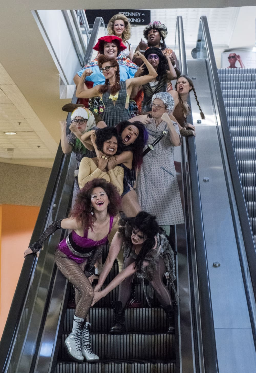 Jackie Tohn, Gayle Rankin, Ellen Wong, Shakira Barrera, Kimmy Gatewood, Rebekka Johnson, Marianna Palka, Kate Nash, Britney Young, Sunita Mani, Betty Gilpin and Kia Stevens in a still from Season 2 of 'Glow' (Netflix)