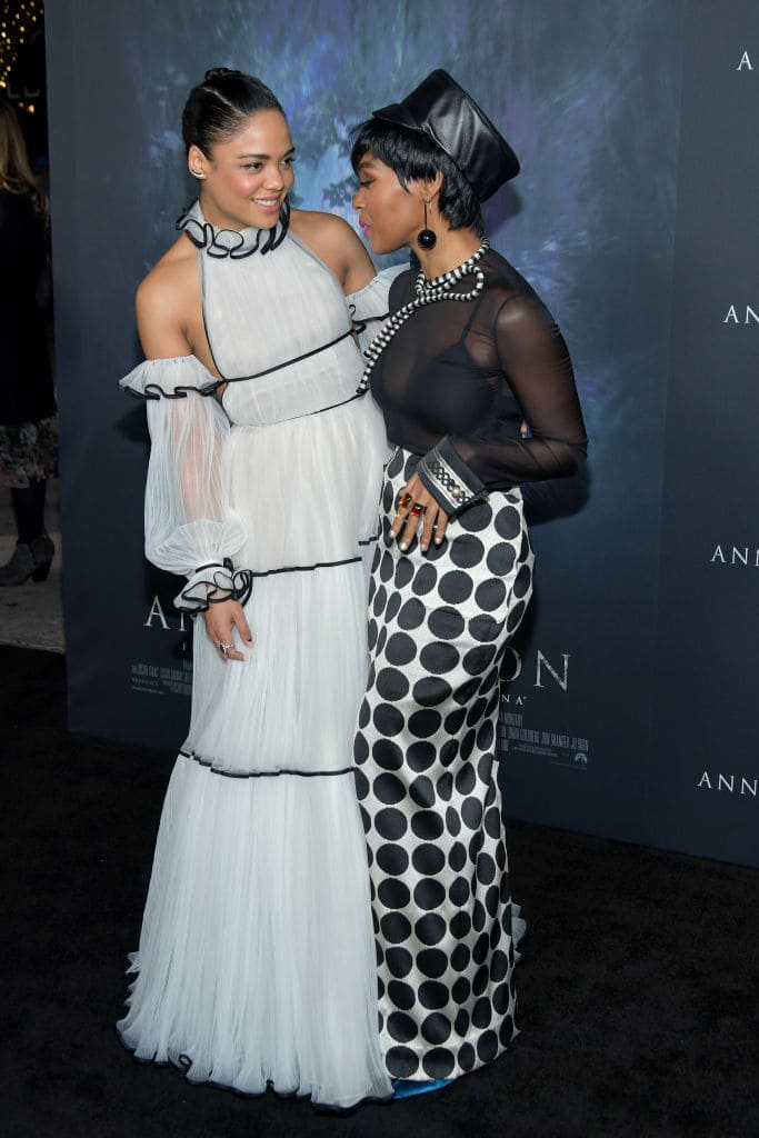 Tessa Thompson (L) and Janelle Monae attend the premiere of Paramount Pictures' 'Annihilation' at Regency Village Theatre on February 13, 2018 in Westwood, California. (Photo by Neilson Barnard/Getty Images)
