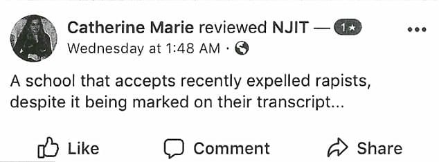"Reddington even left a review on NJIT's official Facebook page, on which she wrote: ""A school that accepts recently expelled rapists, despite it being marked on their transcript...""(Screengrab)"