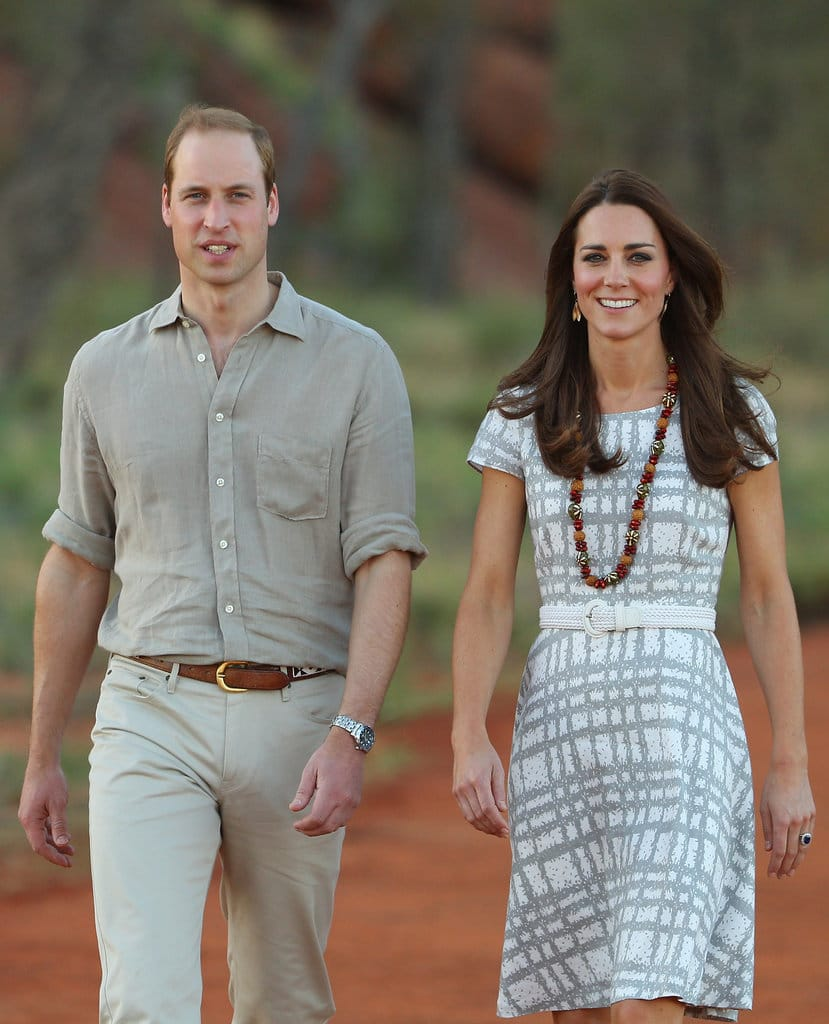 Catherine, Duchess of Cambridge and Prince William, Duke of Cambridge arrive at the National Indigenous Training Academy on April 22, 2014 in Ayers Rock, Australia. (Photo by Scott Barbour/Getty Images)
