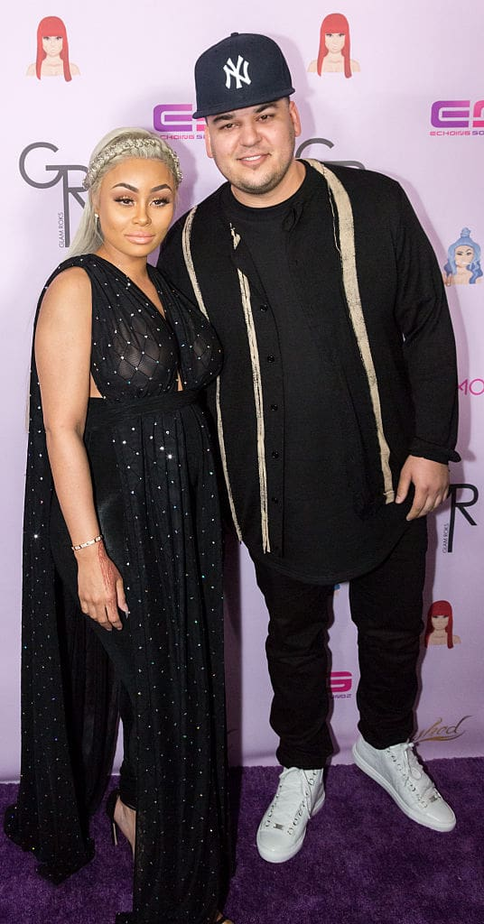 Rob Kardashian and Blac Chyna arrive at her Blac Chyna Birthday Celebration And Unveiling Of Her 'Chymoji' Emoji Collection at the Hard Rock Cafe on May 10, 2016 in Hollywood, California. (Photo by Greg Doherty/Getty Images)