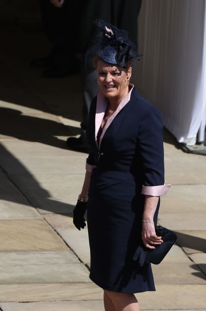 Sarah Ferguson arrives for the wedding ceremony of Britain's Prince Harry and US actress Meghan Markle at St George's Chapel, Windsor Castle on May 19, 2018 in Windsor, England. (Photo by Andrew Matthews - WPA Pool/Getty Images)