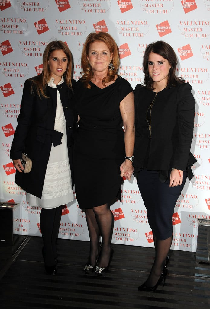 Princess Beatrice, Sarah Ferguson Duchess of York and Princess Eugenie attend the VIP view of Valentino: Master of Couture at Embankment Gallery on November 28, 2012 in London, England. (Photo by Eamonn McCormack/Getty Images)