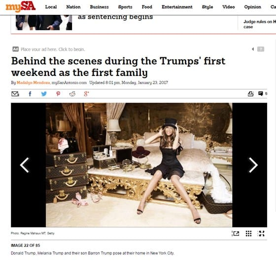 A screenshot of a My San Antonio/San Antonio Express article featuring a Regine Mahaux image of Melania Trump. My San Antonio took the story down after an inquiry from NBC News (Screenshot)
