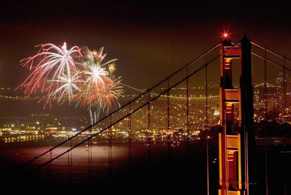Fireworks light up the Golden Gate Bridge and San Francisco Bay as Americans celebrate Independence Day on July 4 (Getty Images)