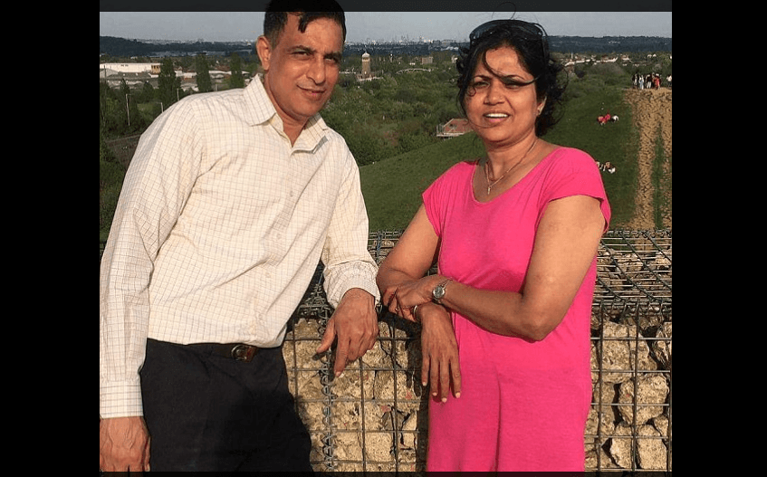 Father of two Vijay Kumar Patel pictured with his wife Vibha. (Twitter)