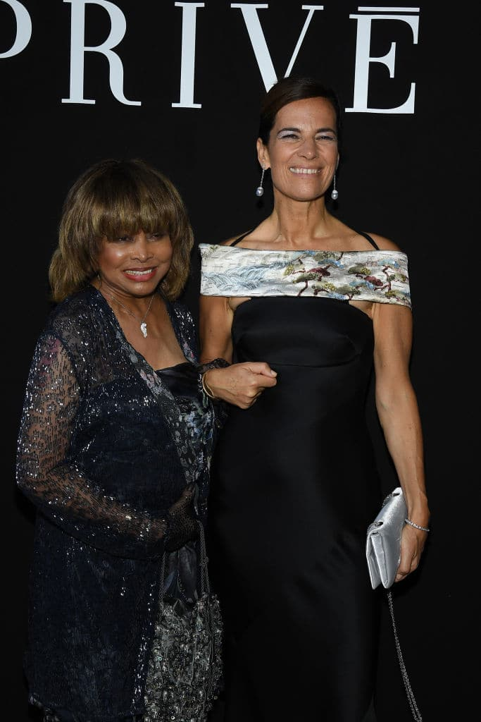 Just hours before her son took his own life, Tina attended the Giorgio Armani Privé Haute Couture fashion show in Paris. She is seen here with Roberta Armani (Getty Images)