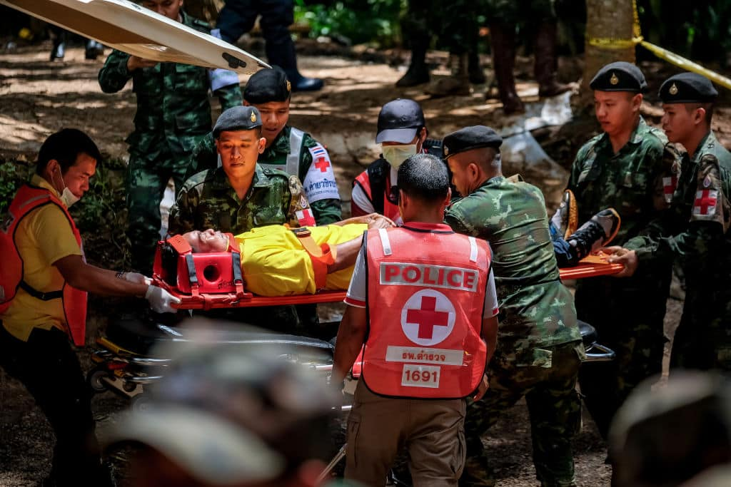 Thai rescue workers practice medical training on an entrance of Tham Luang Nang Non cave on July 04, 2018 in Chiang Rai, Thailand. (Photo by Linh Pham/Getty Images)