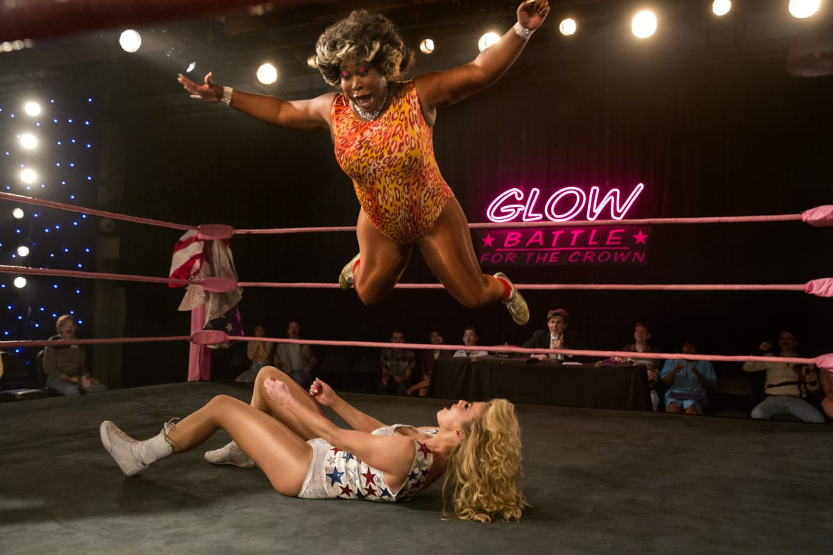 Kia Stevens as the Welfare Queen and Betty Gilpin as Liberty Belle from season 2 of 'GLOW' (Netflix)