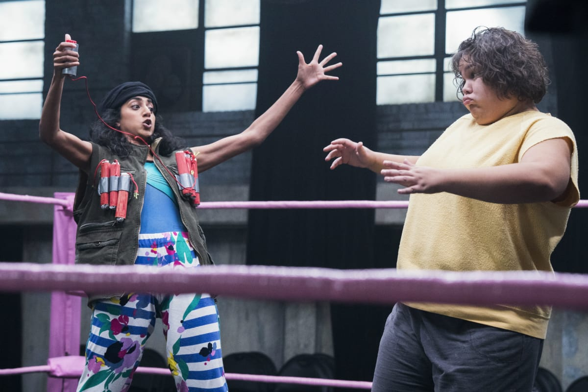 Sunita Mani as Beirut the Mad Bomber and Britney Young as Machu Picchu from season 2 of 'GLOW' (Netflix)