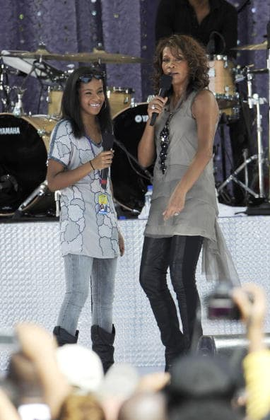 Bobbi Kristina Brown and Whitney Houston perform on ABC's 'Good Morning America' on September 1, 2009 in New York City. (Photo by Larry Busacca/Getty Images)