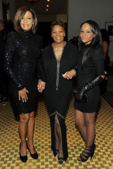 (L-R) Singer Whitney Houston, Singer Dionne Warwick and Bobbi Kristina Brown arrives at the 2011 Pre-GRAMMY Gala and Salute To Industry Icons Honoring David Geffen at Beverly Hilton on February 12, 2011 in Beverly Hills, California. (Photo by Larry Busacca/Getty Images For The Recording Academy)