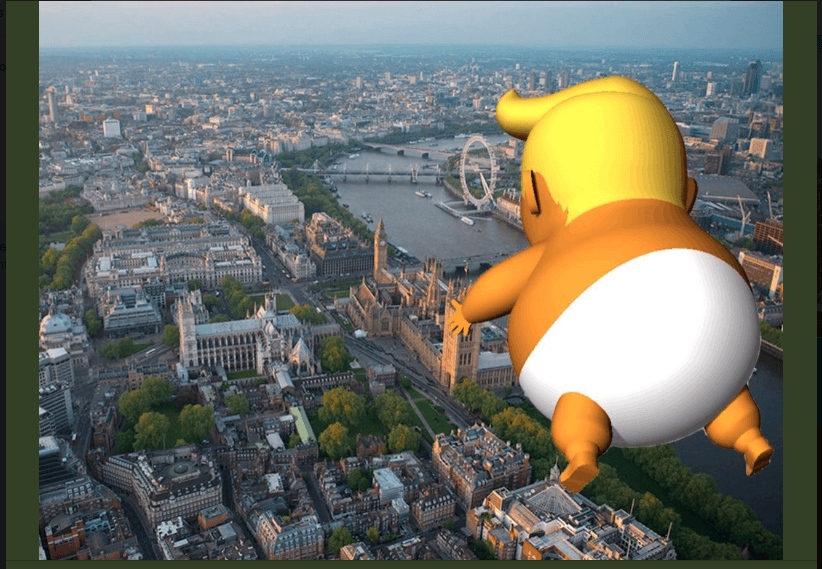 A computer-generated image shows what the balloon might look like during the protest. (Twitter)