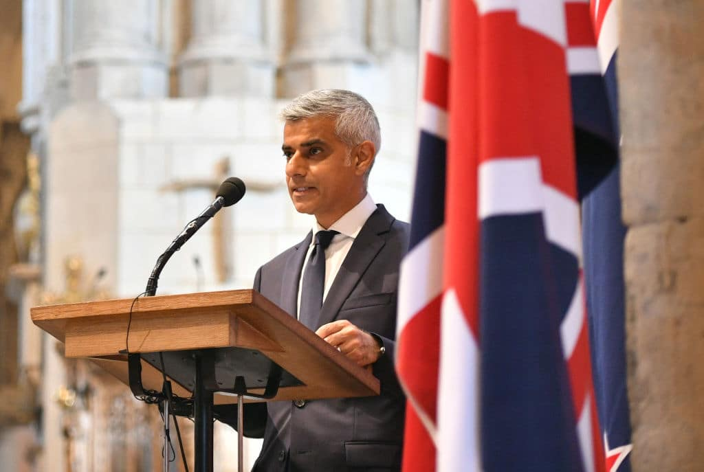 Mayor of London Sadiq Khan speaks at a service of commemoration during the first anniversary of the London Bridge terror attack on June 3, 2018 in London, England. (Getty Images)