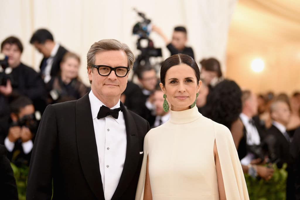 Colin Firth and producer Livia Giuggioli attend the Heavenly Bodies: Fashion & The Catholic Imagination Costume Institute Gala at The Metropolitan Museum of Art on May 7, 2018 in New York City. (Photo by Jason Kempin/Getty Images)