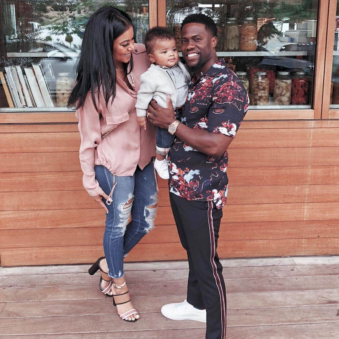Eniko and Kevin Hart, with their son, Kenzo. Source: Instagram