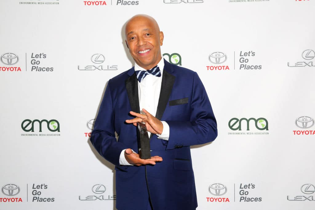 Russell Simmons poses backstage with the EMA Missions in Music Award at the Environmental Media Association's 27th Annual EMA Awards at Barkar Hangar on September 23, 2017 in Santa Monica, California. (Photo by Rachel Murray/Getty Images for Environmental Media Association)