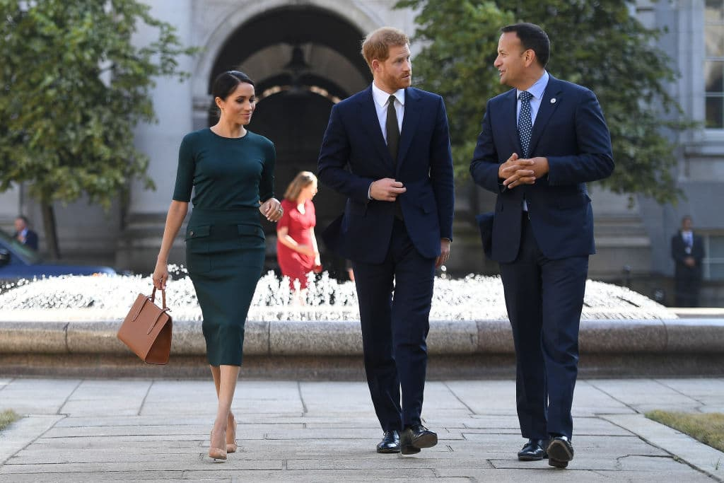 Meghan, Duchess of Sussex and Prince Harry, Duke of Sussex are greeted by the Taoiseach of Ireland Leo Varadkar (Getty Images)