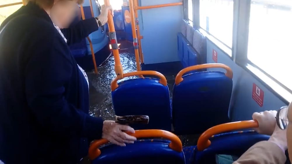 Cassie Mason, 39, was on her morning commute through Newcastle last week when the bus, believed to belong to Stagecoach, encountered deep flood water from a burst mains pipe (Image: Kennedy News and Media)