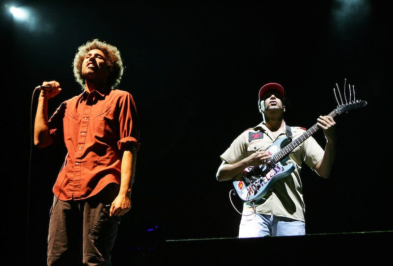 Zack de la Rocha and Tom Morelloof Rage Against the Machine. (Photo by Ethan Miller/Getty Images)