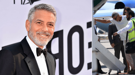 George Clooney spotted hobbling onto the plane with Amal for the first time since his accident