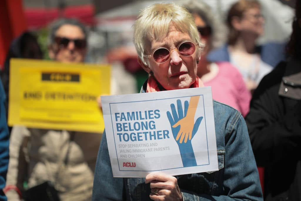 Demonstrators protest Trump administration policy that enables federal agents to separate undocumented migrant children from their parents at the border on June 5, 2018 in Chicago, Illinois. (Getty Images)