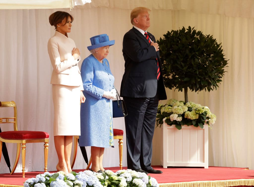 Queen Elizabeth II stands with President of the United States, Donald Trump and First Lady, Melania Trump for their national anthem at Windsor Castle on July 13, 2018 in Windsor, England. (Getty Images)