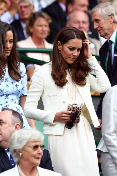 Catherine, Duchess of Cambridge and Pippa Middleton sit in the Royal Box during the Gentlemen's Singles final match between Roger Federer of Switzerland and Andy Murray of Great Britain on day thirteen of the Wimbledon Lawn Tennis Championships at the All England Lawn Tennis and Croquet Club on July 8, 2012 in London, England (Getty Images)