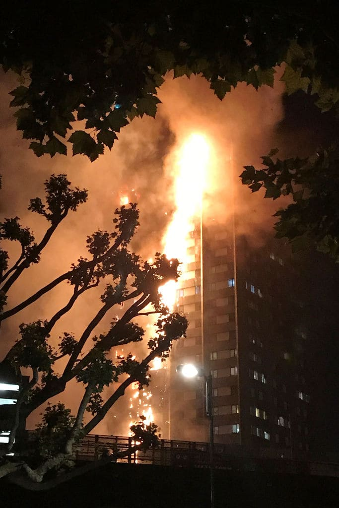 Footage has shown the fire spreading up one side of the building externally, before engulfing the entire block (Getty Images)