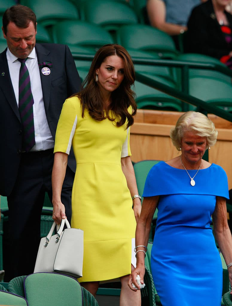 Kate had worn a similar yellow dress to Wimbledon in 2016 when she rocked a Roksanda Ilinic dress with white panelling detail. (Getty Images)