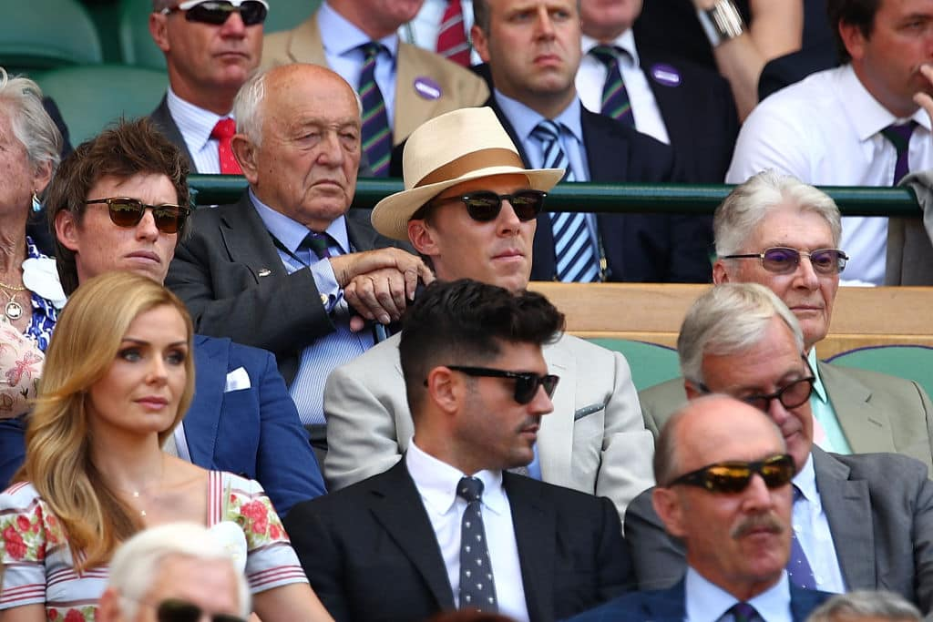 (L-R) Eddie Redmayne, Benedict Cumberbatch and Timothy Cumberbatch at Wimbledon on July 15, 2018 in London (Photo by Clive Brunskill/Getty Images)
