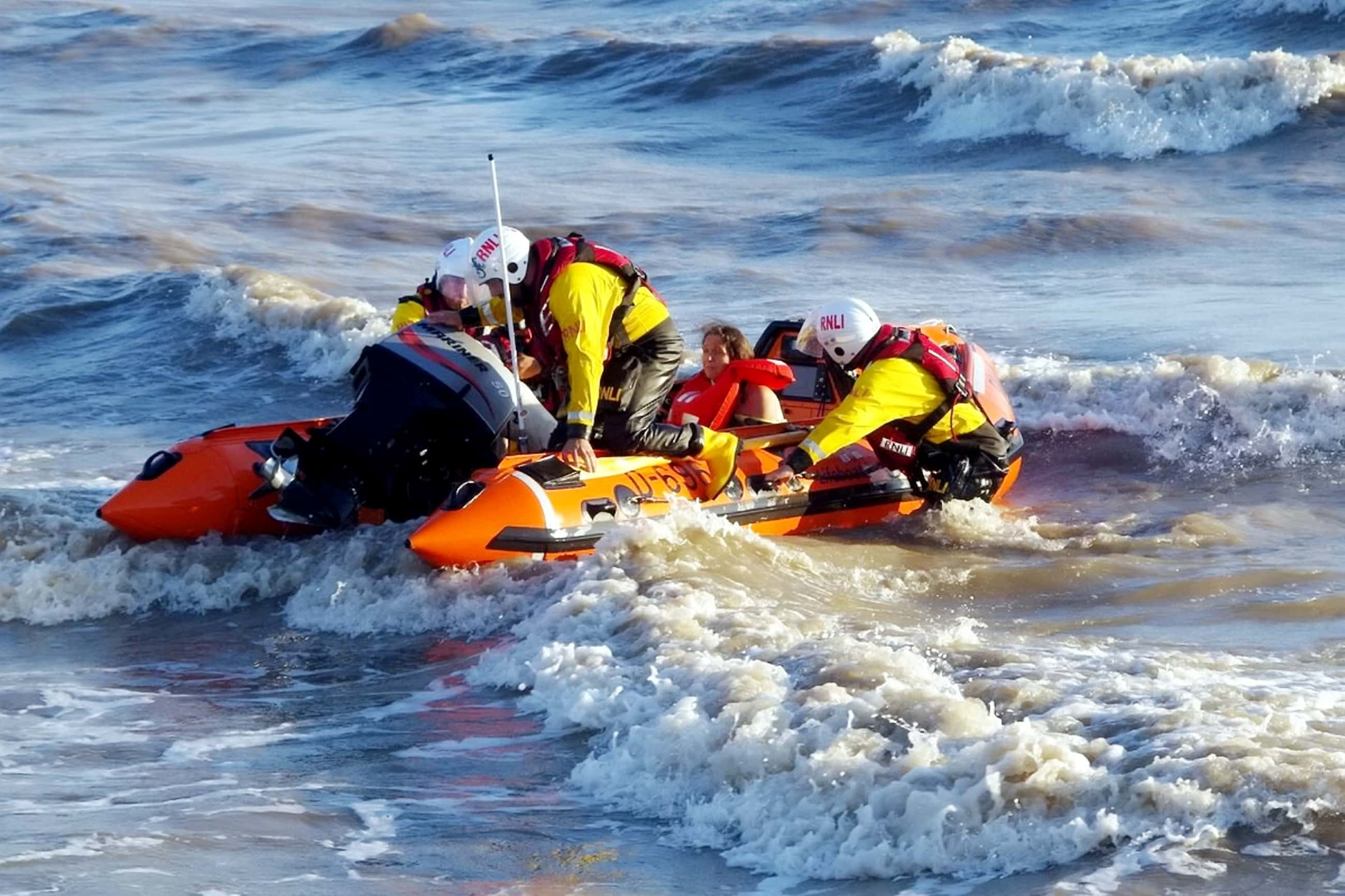 olice, ambulances, Coastguards, lifeboats and a search and rescue team were called out when three people became cut off (SWNS)