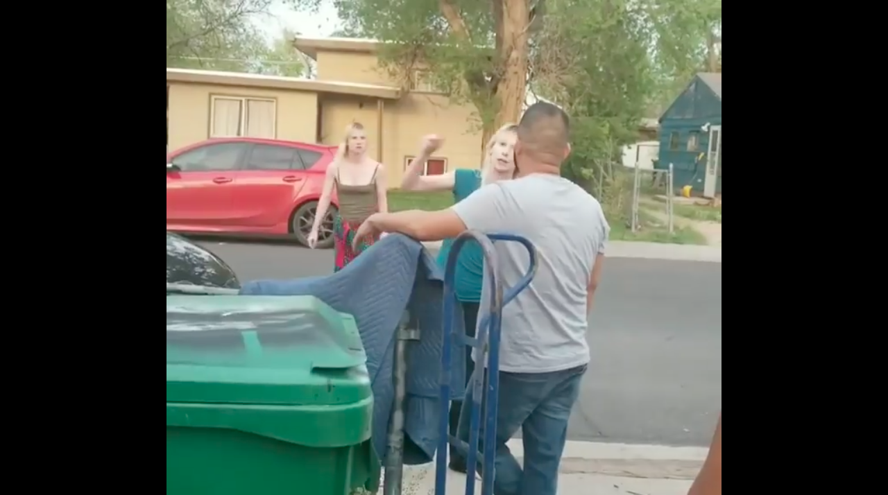 One of the sisters yelling at a man from the Hispanic family. (Screenshot/YouTube)