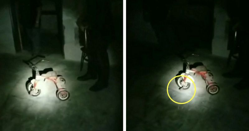 'Ghost' rides tricycle backwards in eerie footage from haunted 'poor house'