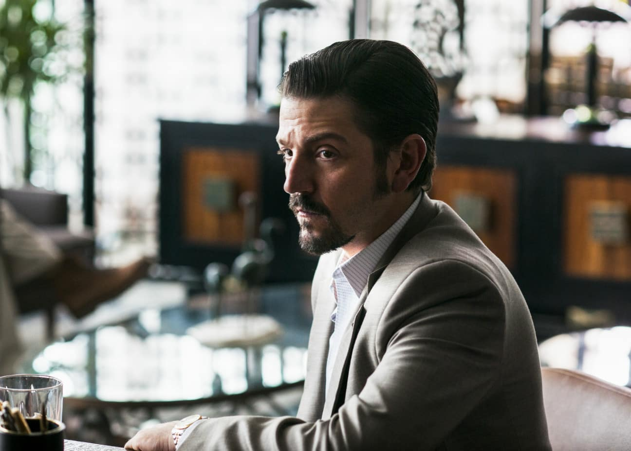 Diego Luna as Guadalajara Cartel supremo Felix Gallardo (Source: Netflix)