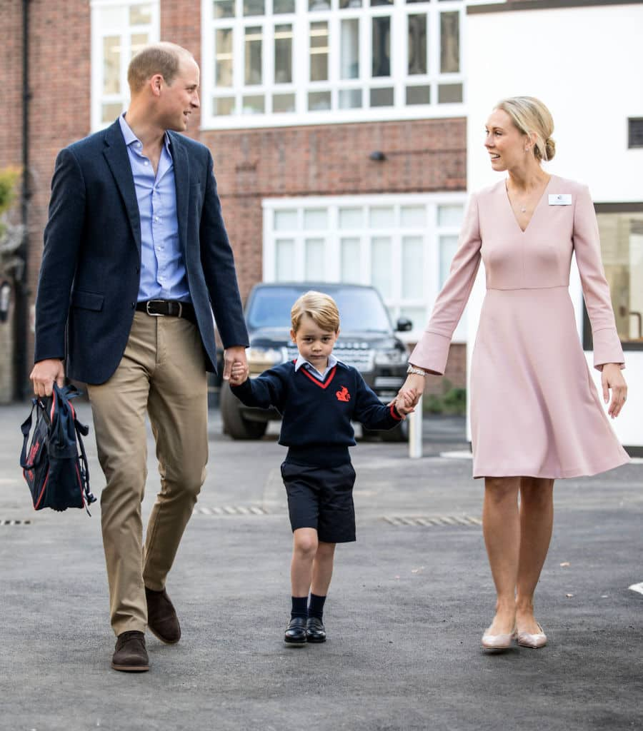 Prince George of Cambridge arrives for his first day of school with his father Prince William at Thomas's Battersea on September 7, 2017 in London (Getty Images)