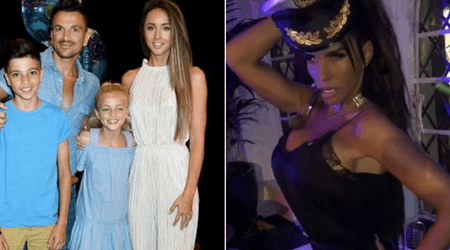 Boozy nights: Katie Price seen stumbling out of a club drunk as Peter Andre looks after the kids