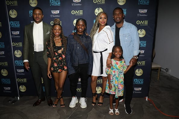Hosea Chanchez, Imani Hakim, Bre-Z, Letoya Luckett, Tommicus Walker, and Madison Walker attend TV One Private Dinner during American Black Film Festival 2018 at Mondrian South Beach on June 15, 2018 in Miami, Florida. (Photo by Aaron Davidson/Getty Images for TV One)