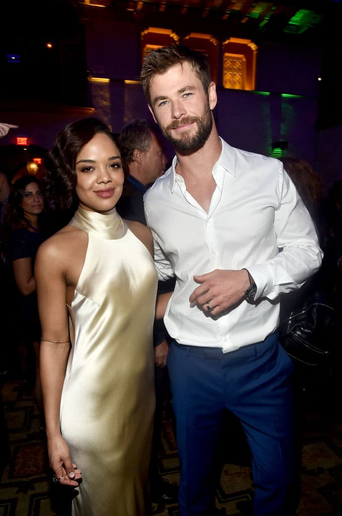 Tessa Thompson (L) and Chris Hemsworth at The World Premiere of Marvel Studios' 'Thor: Ragnarok' at the El Capitan Theatre on October 10, 2017 in Hollywood, California. (Photo by Alberto E. Rodriguez/Getty Images for Disney)