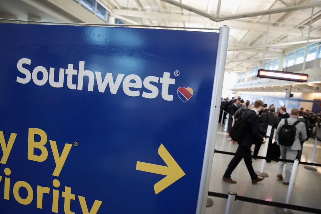 Southwest Airlines passengers check in for flights at Midway Airport on January 25, 2018 in Chicago, Illinois. (Getty Images)