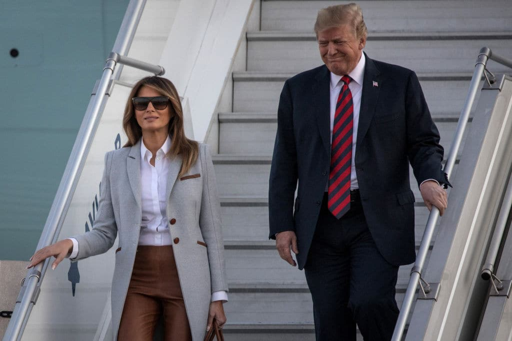 U.S. President Donald Trump and first lady, Melania Trump arrive aboard Air Force One at Helsinki International Airport on July 15, 2018 in Helsinki, Finland. (Getty Images)