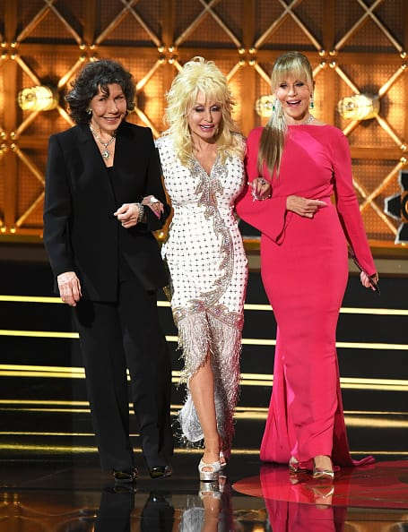 Actors Lily Tomlin, Dolly Parton and Jane Fonda walk onstage during the 69th Annual Primetime Emmy Awards at Microsoft Theater on September 17, 2017 in Los Angeles, California. (Photo by Kevin Winter/Getty Images)