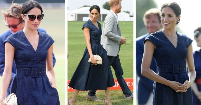 460a16bf9c Meghan Markle dazzles in denim dress to cheer Prince Harry at charity polo  match