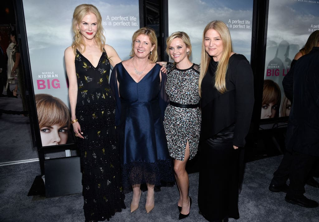 Nicole Kidman, author Liane Moriarty, actress Reese Witherspoon, and executive producer Bruna Papandrea attend the premiere of HBO's 'Big Little Lies' at TCL Chinese Theatre on February 7, 2017 in Hollywood, California. (Photo by Kevork Djansezian/Getty Images)