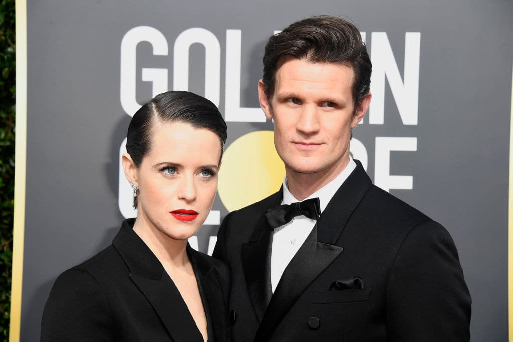 Claire Foy (L) and Matt Smith attend The 75th Annual Golden Globe Awards at The Beverly Hilton Hotel on January 7, 2018 in Beverly Hills, California. (Photo by Frazer Harrison/Getty Images)