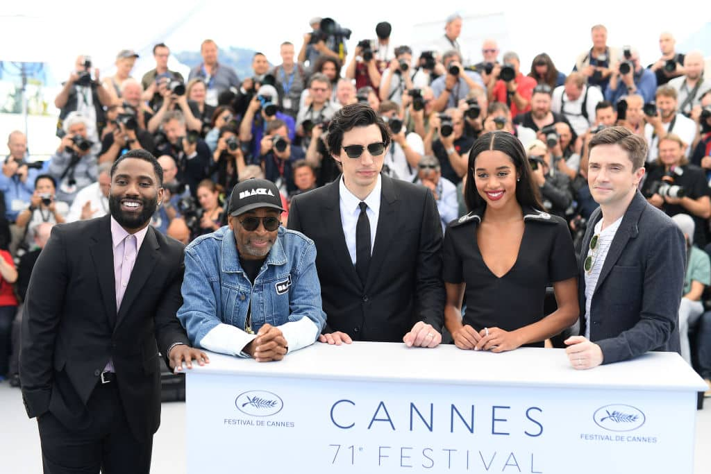 Topher Grace (extreme right) with the rest of the cast and crew of 'BlacKkKlansman' at the Cannes premiere of the film.  (Photo by Pascal Le Segretain/Getty Images)