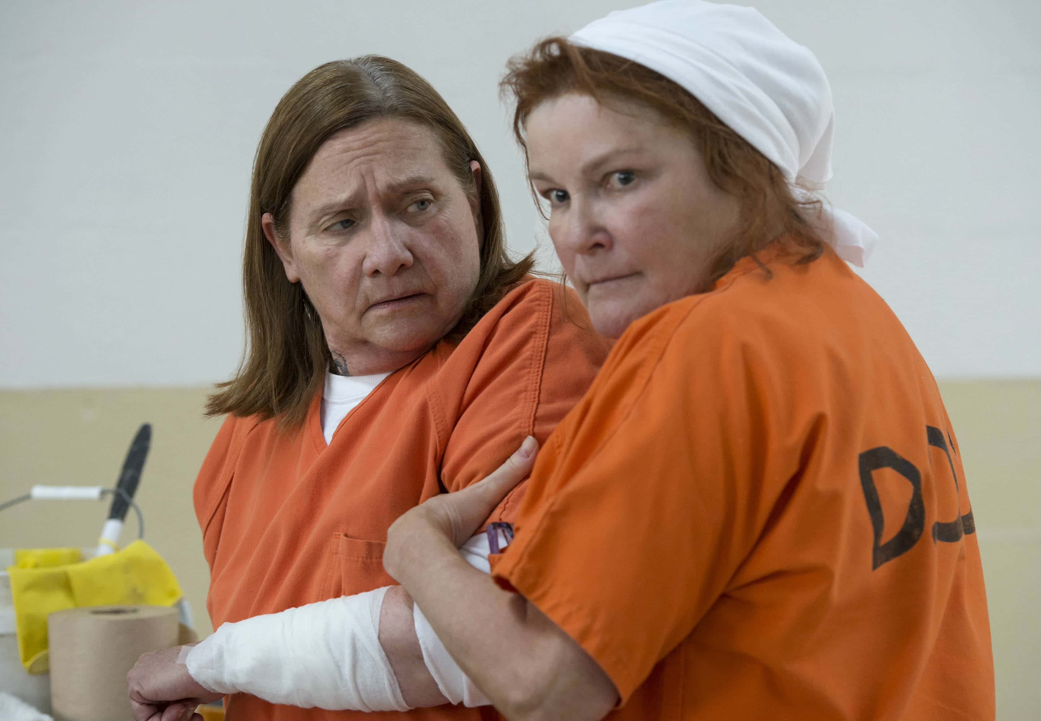 It might not be visible to viewers at first glance, but it looks like the show is opening up a vacancy in the prison mom department since Red is now in a mood for revenge after what Freida did to her. (Source: Netflix)