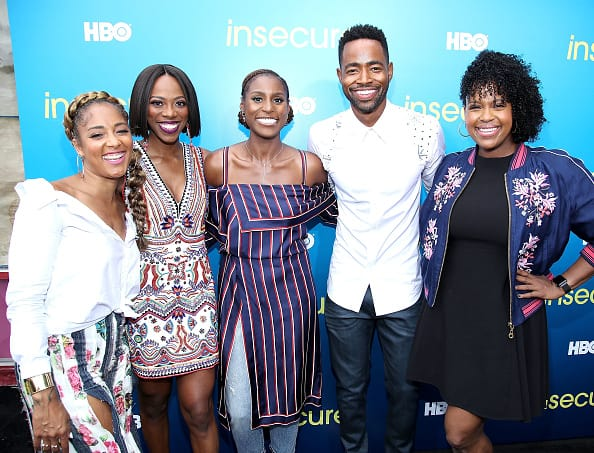 L-R) Amanda Seales, Yvonne Orji, executive producer and star Issa Rae, Jay Ellis and Natasha Rothwell attend a block party celebrating HBO's new season of 'Insecure' on July 15, 2017 in Inglewood, California. (Photo by Randy Shropshire/Getty Images for HBO)